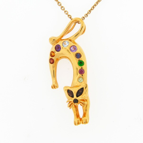 Meredith Leigh Sterling Silver Multi-gemstone Cat Pin/ Pendant Necklace