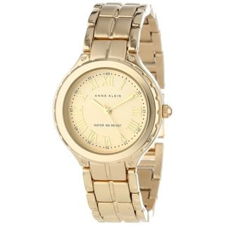 Anne Klein Women's AK-1302CHGB Round Goldtone Watch