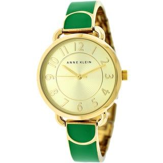 Anne Klein Women's AK-1606GNGB Green and Goldtone Bangle Watch