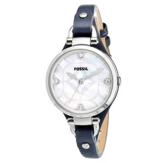 Fossil Women's ES3417 Georgia Three-Hand Navy Leather Watch