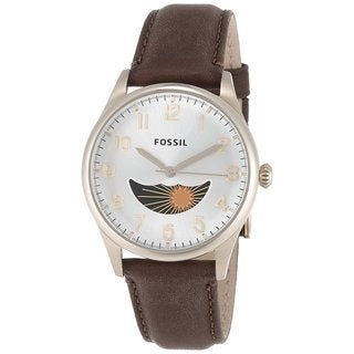 Fossil Men's FS4847 The Agent Three-Hand Moonphase Leather Watch