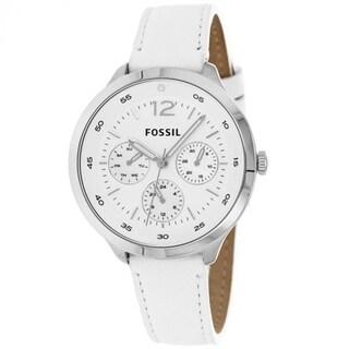 Fossil Women's ES3242 Editor White/Silvertone Stainless Steel Watch