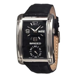Breed Men's Aston Black Leather Black Analog Watch