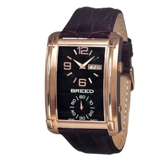 Breed Men's Aston Black Leather Dark Brown Analog Watch