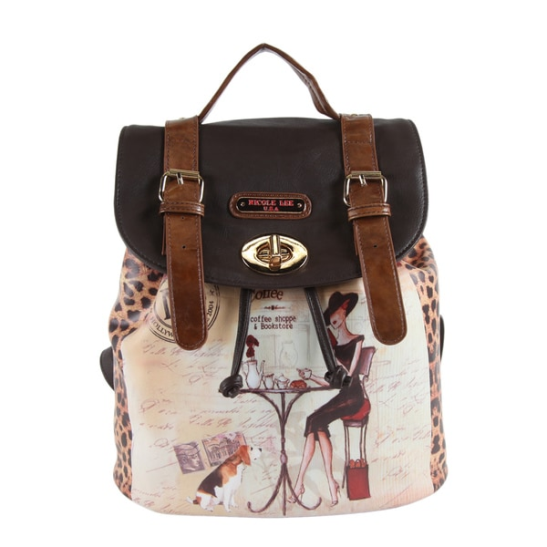 Nicole Lee Coffee Print Backpack