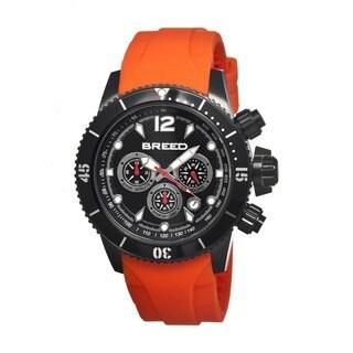 Breed Men's Salvatore Black Silicone Orange Analog Watch