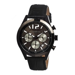 Morphic Men's M15 Series Black Leather Black Analog Watch