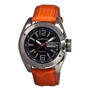 Morphic Men's M16 Series Black Leather Orange Analog Watch