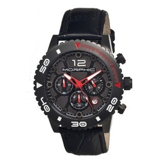 Morphic Men's M33 Series Black Leather Black Analog Watch