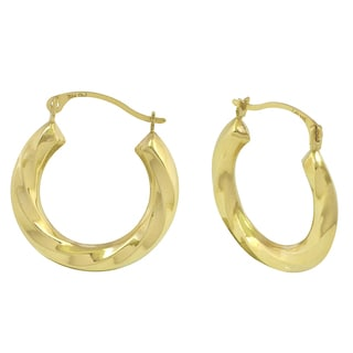 14k Yellow Gold Twisted Triangular Tube Hoop Earrings