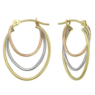 14k Tri-tone Gold Triple Oval Hoop Earrings