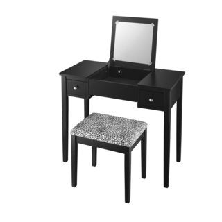 Black and Leopard Fabric Vanity Set