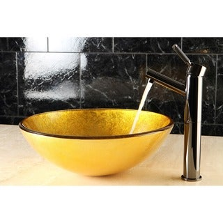 Gold and Brown Glass Vessel Bathroom Sink