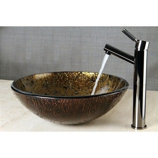 Brown and Black Glass Vessel Bathroom Sink