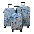 Kemyer World Series II Silver Stamp Wide Body 3-piece Hardside Spinner Luggage Set