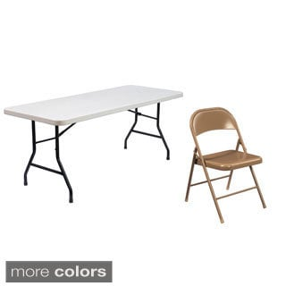 National Public Seating Lightweight 6-inch Plastic Folding Table and Four Steel Chair Set