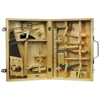 16-piece Metal Toy Tool Kit with Wood Box