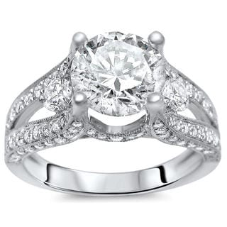 18k White Gold Clarity Enhanced 2 1/3ct Certified Diamond Ring (G-H, SI1-SI2)
