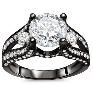18k Black Gold 2 1/10ct Certified Clarity Enhanced Diamond Ring (G-H, SI1-SI2)