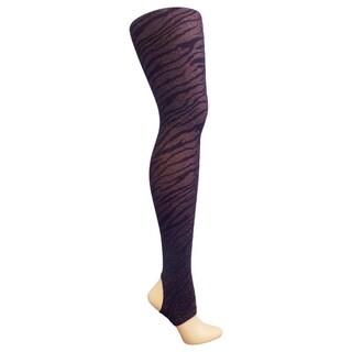 Betsey Johnson Women's Metallic Zebra Design Plum Stirrup Tights