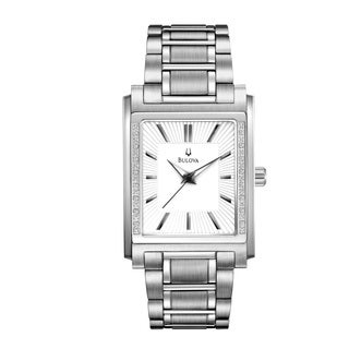 Bulova Men's 96E113 Stainless Steel 16 Diamond Rectangular Bracelet Watch