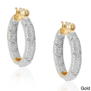 Finesque Sterling Silver 1/2ct TDW Pave Diamond Hoop Earrings (I-J, I2-I3)