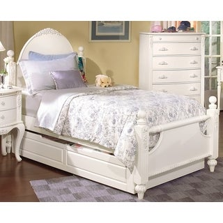 Cheryl Antique White Twin Post Bed and Trundle Storage
