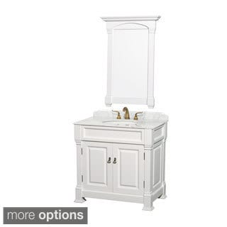Andover Single 36-inch White Bathroom Vanity and Mirror