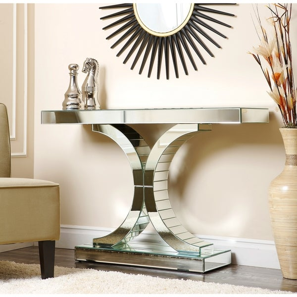 Empire Mirrored Coffee Table: ABBYSON LIVING Empire Mirrored Console Table