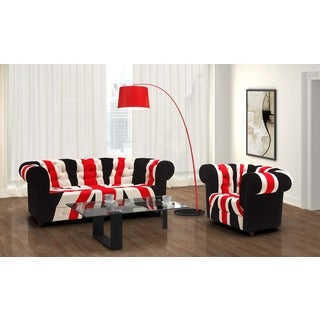 Red, White and Black Union Jack Sofa