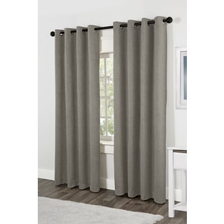 Jakarta Aloe Faux Linen Grommet Top 84-inch Curtain Panel Pair