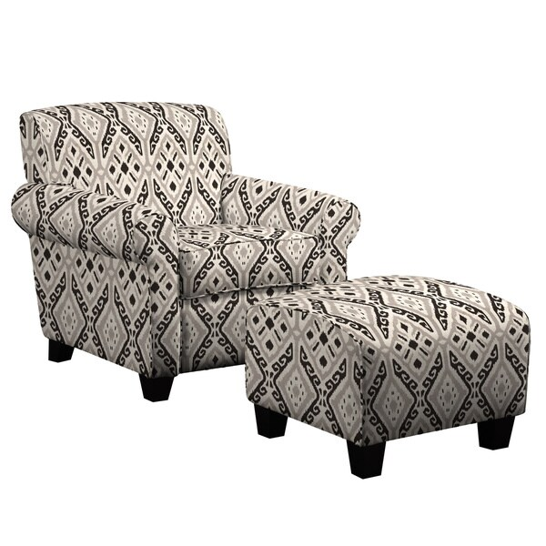Portfolio Mira Gray and Black Ikat Design Chair and Ottoman