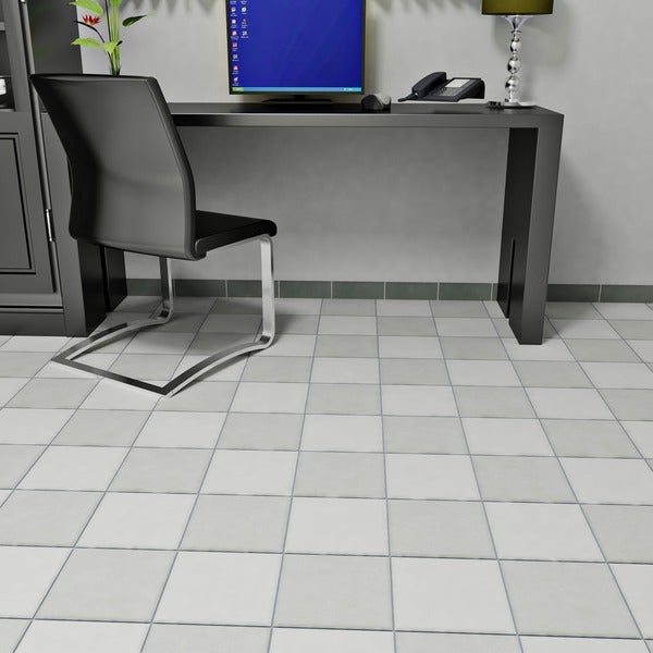 SomerTile 7.75x7.75-in Thirties Grey Ceramic Floor and Wall Tile (Case of 25)