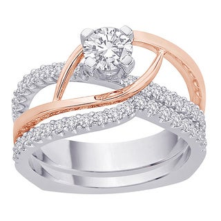 14k Two-tone Gold 1/5ct TDW Diamond Bridal Ring Set (G-H, I2-I3)