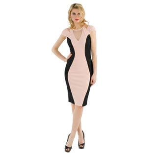 Women's 'Kayla' Pink and Black Rhinestone Dress