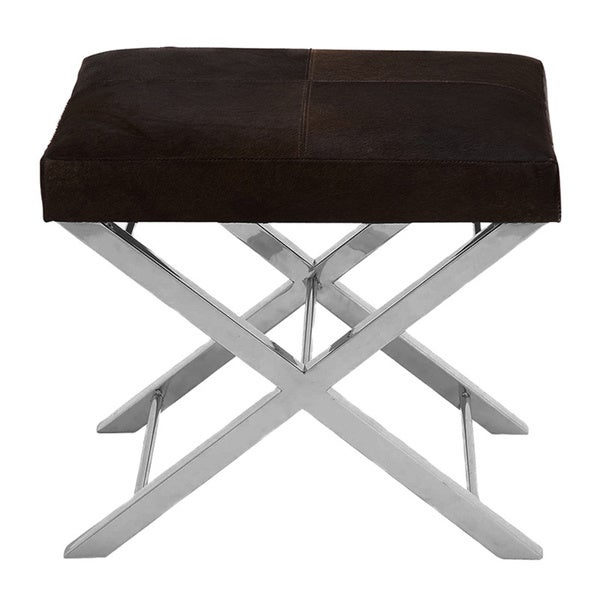 Aria Design Modern Steel And Cowhide Leather Stool