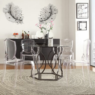 INSPIRE Q Concord Black Nickel Plated Round Glass Dining Table
