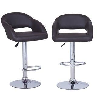 Adeco Dark Brown Adjustable Modern Barstool Chairs (Set of 2)