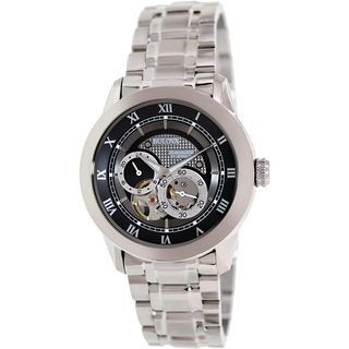 Bulova Men's BVA 96A119 Silvertone Stainless Steel Automatic Watch with Black Dial