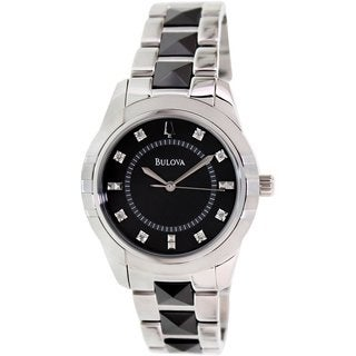 Bulova Women's Diamond 98P136 Silvertone Stainless Steel Quartz Watch with Black Dial