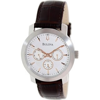 Bulova Men's 96C118 Brown Leather Quartz Watch with Silvertone Dial