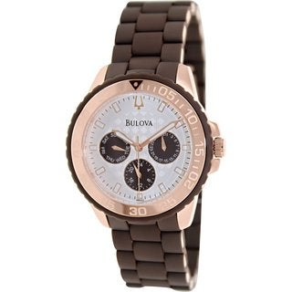 Bulova Men's Sport 98N103 Brown Rubber Quartz Watch with White Dial
