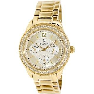 Bulova Women's Crystal 97N102 Goldtone Stainless Steel Quartz Watch with Goldtone Dial