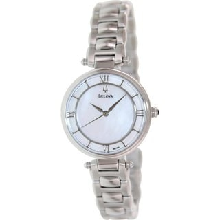 Bulova Women's Dress 96L185 Silvertone Stainless Steel Quartz Watch with Mother-Of-Pearl Dial