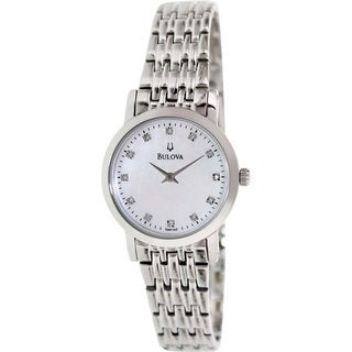 Bulova Women's Diamond 96P135 Silvertone Stainless Steel Quartz Watch with Mother-Of-Pearl Dial