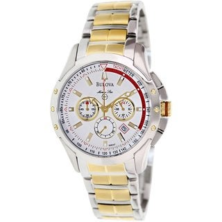 Bulova Men's Marine Star 98B147 Two-Tone Stainless Steel Quartz Watch with White Dial
