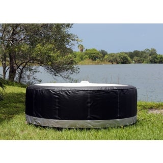 TheraPureSpa Round Black Leather Hot Tub Spa