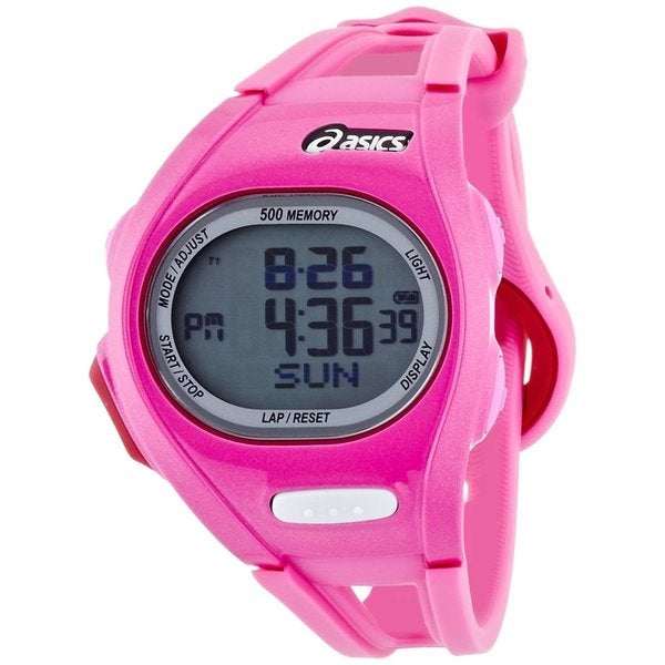 Asics Women's Race CQAR0106 Pink Polyurethane Quartz Watch with Digital Dial