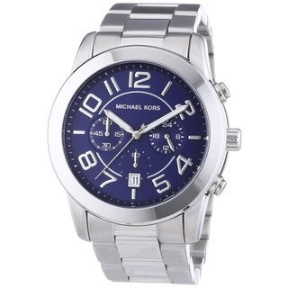 Michael Kors Men's Mercer MK8329 Silvertone Stainless Steel Quartz Watch with Blue Dial