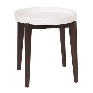 Wood Brown/ White Tray End Table